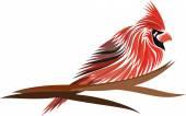 Rode kardinaal op boom — Stockvector