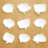 Set of  speech bubbles on paper texture — Stock Vector