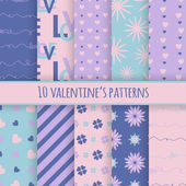 Set of 10 valentines cute patterns — Stock Vector