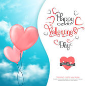 Valentines card with heart-shaped balloons in sky — Stockvektor
