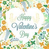 Valentines card with cute flowers — Διανυσματικό Αρχείο