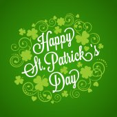 St. Patricks card with clover and typography — Stock vektor