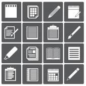 Set van papieren documenten en potloden pictogrammen — Stockvector