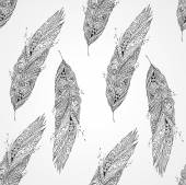 Seamless monochrome pattern with feathers — Stock Vector
