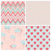 Set of vector seamless love patterns. — Stock Vector
