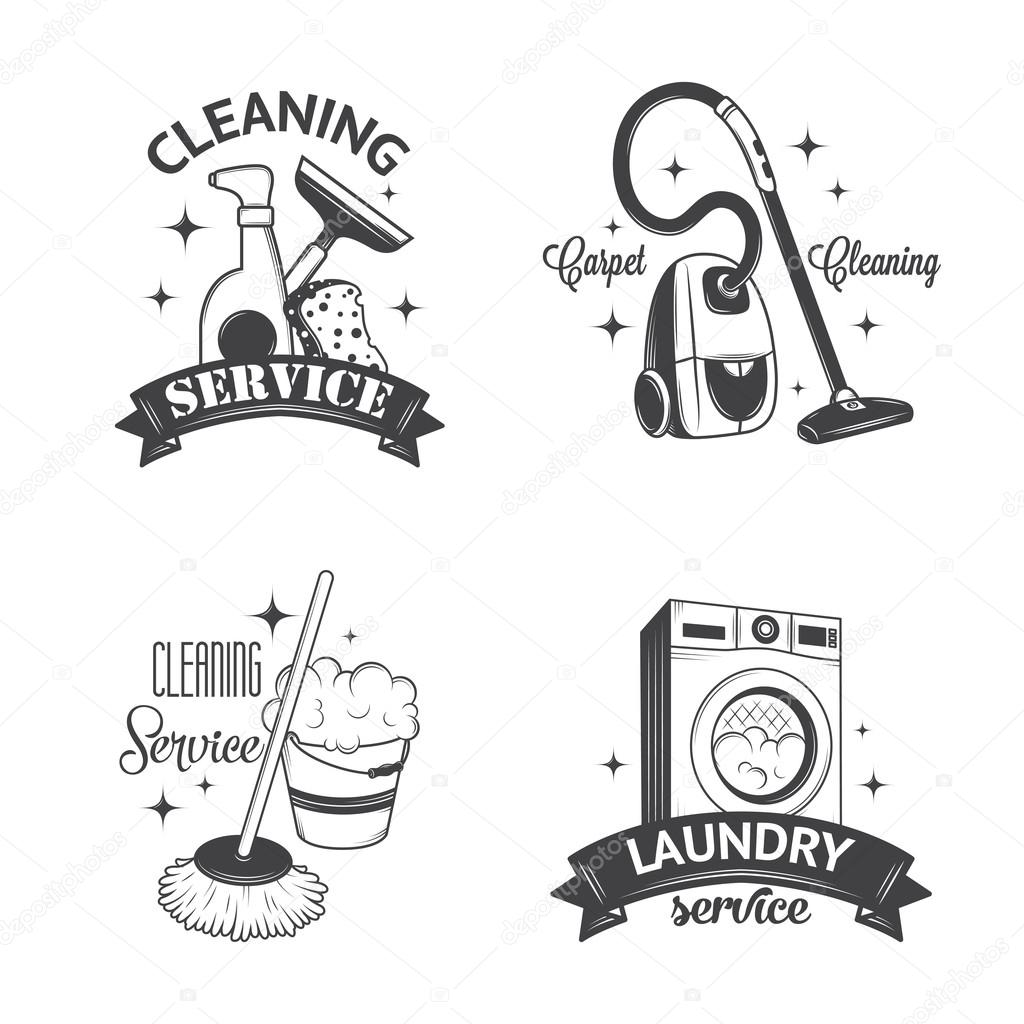 Set of vintage logos, labels and badges cleaning services — Stock ...