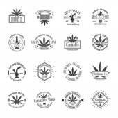 Set of medical marijuana logos. Cannabis badges, labels and logos — Stock Vector