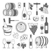 Elegant wine set of vintage elements isolated on white background — Stock Vector