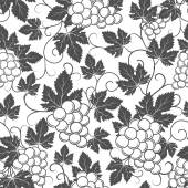 Wine seamless pattern with grapes and leaves — Stock Vector
