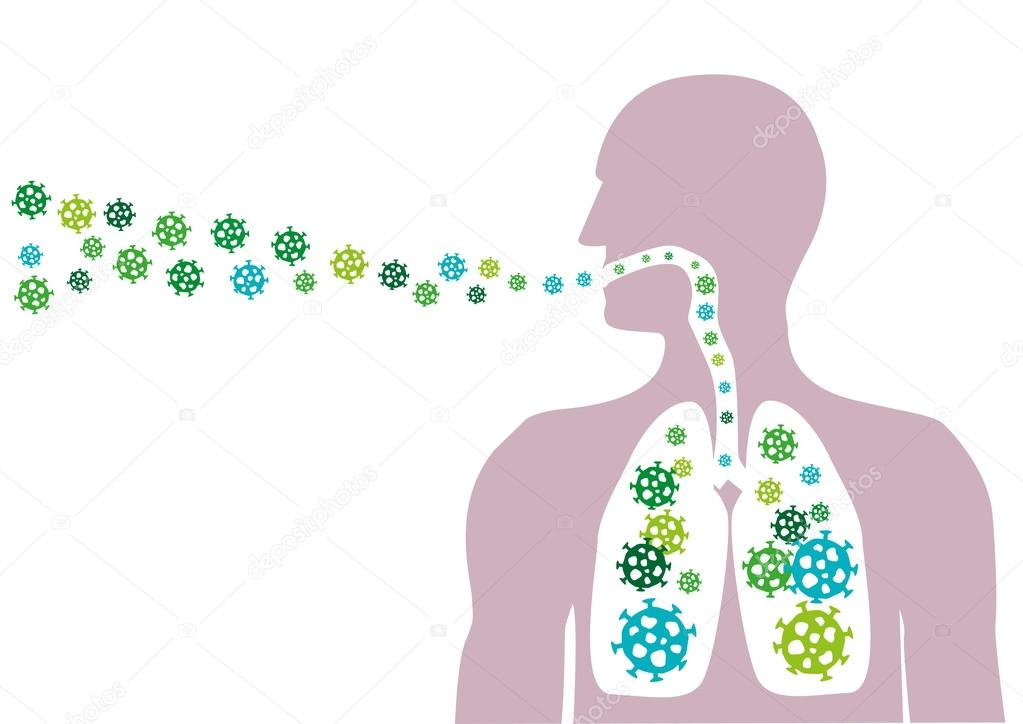 Man Inhales pathogen particles or spreads airborne diseases ...