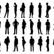 Big set of men and women standing silhouettes 2 — Stock Photo #68686047