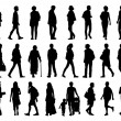 Big set of people walking silhouettes set 2 — Stock Photo #69906781