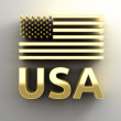 USA flag - gold 3D quality render on the wall background with so — Stock Photo #53111859