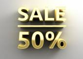 Sale 50 - gold 3D quality render on the wall background with so — Stock Photo