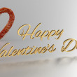 Happy Valentines Day 3D Render with gold text and red heart — Stock Photo #62350281