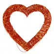 Big Red Heart Made of Fibre, Isolated On White Background, 3D Re — Stock Photo #62697817