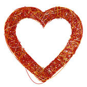 Big Red Heart Made of Fibre, Isolated On White Background, 3D Re — Stock Photo