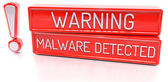 Warning Malware Detected - 3d banner, isolated on white backgrou — Stock Photo