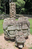 Stela F and its altar (carved in 721 AC) at the Mayan archeologi — Stock Photo