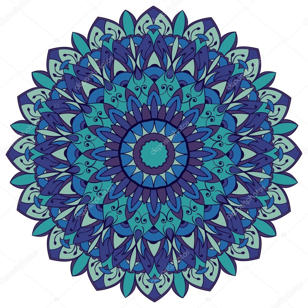 Mandala em tons de azul vetor de stock matorinni - Tappeto mandala ...