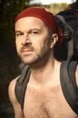 Portrait of man on trek — Stock Photo