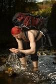 Man on autumn trek — Stock Photo