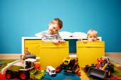 Two boys in children room — Stock Photo