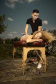 Open air massage — Stock Photo