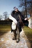 Homeless man in park — Stockfoto