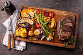 Club Beef steak and Grilled vegetables — Stock Photo