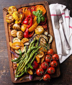 Grilled vegetables on cutting board — Stock Photo