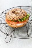 Salmon Bagel Sandwich with cream cheese — Stock Photo
