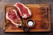 Raw fresh meat Ribeye Steak and seasoning — Foto Stock