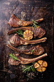 Lamb ribs with spices and garlic — Stock Photo