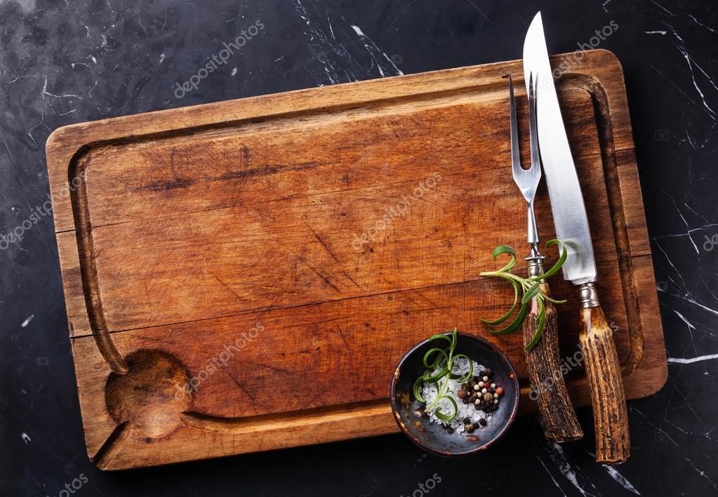 Skärbräda marmor kniv