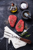 Raw fresh meat rump Steaks — Stock Photo