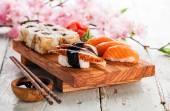 Sushi Set with sashimi and sushi rolls — Stock Photo