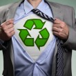 Superhero green eco businessman — Stock Photo #54307229