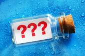 Question mark message in a bottle — Stock Photo