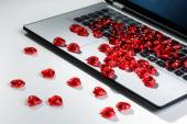 Heart shape symbols on laptop keyboard — Stock Photo
