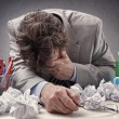 Overworked, depressed and exhausted businessman — Stock Photo #76061615