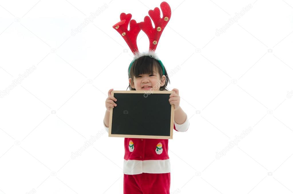 Cute Blackboard Background Cute Asian Baby Wearing Santa Costume Holding Blackboard on White Background