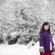 Cute asian girl smiling outdoors in snow — Stock Photo #74022767