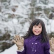 Cute asian girl smiling outdoors in snow — Stock Photo #74022833