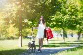 Young girl  with two greyhounds in the park with  shopping bags — Stock Photo
