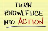 Transforma el conocimiento en el concepto de acción — Foto de Stock