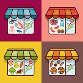 Food store. Flat design — Stock Vector