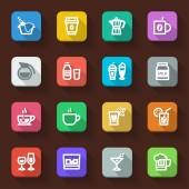 Beverage flat icons — Stock Vector