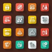 Fast food and junk food flat icons — Vector de stock