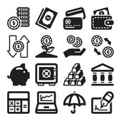 Finances flat icons. Black — Vetorial Stock